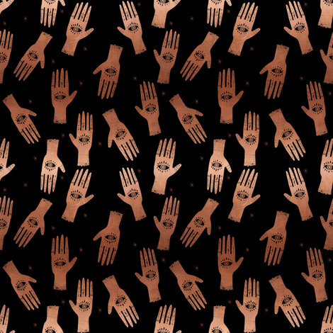 EXTRA SMALL - palmistry fabric, palm print fabric, tarot fabric, hand print, eye print, trendy fabric 2019 - black and copper fabric by charlottewinter on Spoonflower - custom fabric