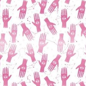 EXTRA SMALL - palmistry fabric, palm print fabric, tarot fabric, hand print, eye print, trendy fabric 2019  pink