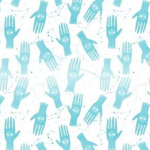 EXTRA SMALL - palmistry fabric, palm print fabric, tarot fabric, hand print, eye print, trendy fabric 2019  blue