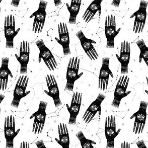 EXTRA SMALL - palmistry fabric, palm print fabric, tarot fabric, hand print, eye print, trendy fabric 2019  black and white