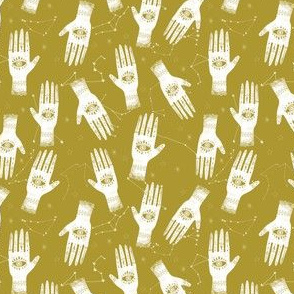 EXTRA SMALL - palmistry fabric, palm print fabric, tarot fabric, hand print, eye print, trendy fabric 2019  yellow