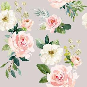 "8"" Chic Blush Roses // Swiss Coffee"