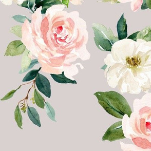 "12"" Chic Blush Roses // Swiss Coffee"