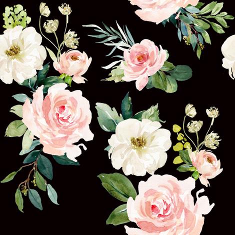"8"" Chic Blush Roses // Black fabric by hipkiddesigns on Spoonflower - custom fabric"