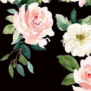 "12"" Chic Blush Roses // Black"