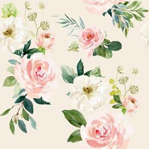 """8"""" Chic Blush Roses // White Linen"""