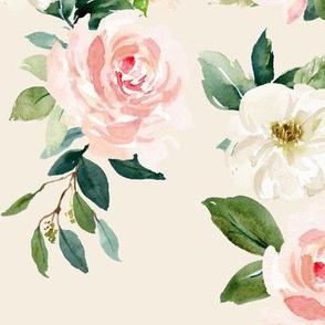 """12"""" Chic Blush Roses // White Linen"""