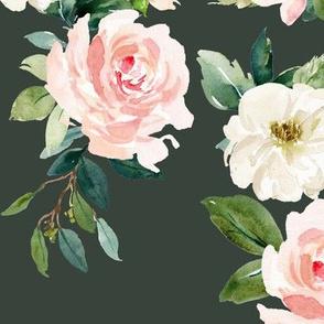 "12"" Chic Blush Roses // Lunar Green"