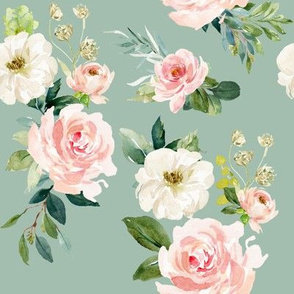 "8"" Chic Blush Roses // Summer Green"