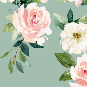 "12"" Chic Blush Roses // Summer Green"