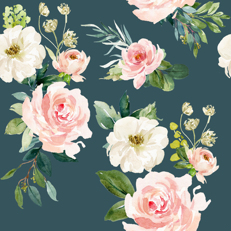 "8"" Chic Blush Roses // Spectra Teal fabric by hipkiddesigns on Spoonflower - custom fabric"