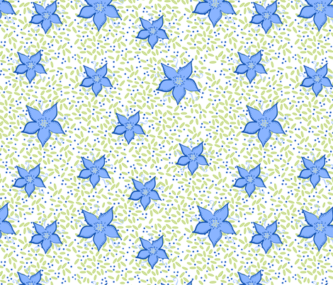 TinyBlueAndYellowLeavesOnWhiteField fabric by debbiejohnsonartist on Spoonflower - custom fabric