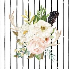 "8"" Rustic Boho Floral Antlers // Black Stripes"