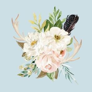 "8"" Rustic Boho Floral Antlers // Igloo Blue"