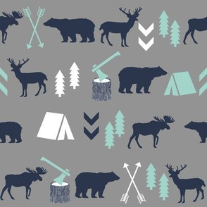 woodland camping boys nursery grey mint navy blue kids outdoors bear tent wood trees forest - SMALLER