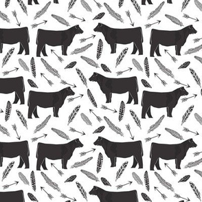 steer fabric - black and white farm fabric, farm animals fabric, barn, farmyard, cattle, cow, feathers and arrows, ranch fabric - smaller