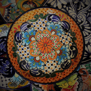 Talavera plates quilt panel
