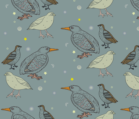 neutral_nursery_with_birds_and_planets fabric by isabella_asratyan on Spoonflower - custom fabric