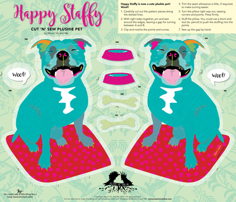 Cut and sew 'Happy Staffy' by Mount Vic and Me fabric by mountvicandme on Spoonflower - custom fabric