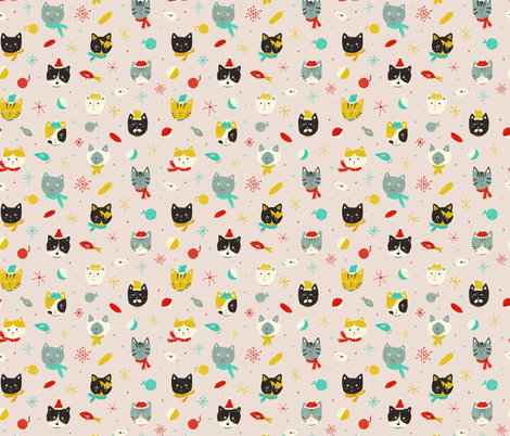 Winter Kitties  fabric by honeyberrystudios on Spoonflower - custom fabric