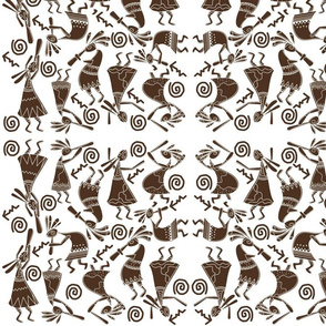 Kokopelli Rabbits Brown on White