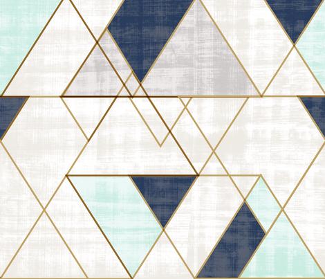 Mod Triangles XL Vintage Navy Mint fabric by crystal_walen on Spoonflower - custom fabric