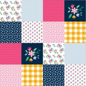 """3"""" Preppy Pink Cheater Quilt Top"""