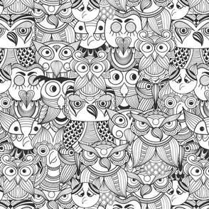 Owls Black Coloring Page