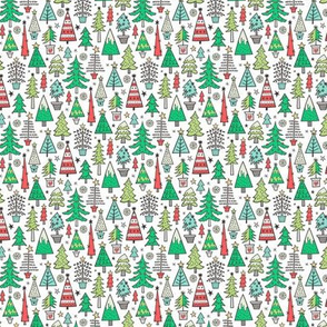 Christmas Trees Doodle Forest Woodland Red on White Tiny Small 1 inch
