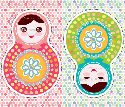 Russian dolls matryoshka The Cut & Sew Fat Quarter Project