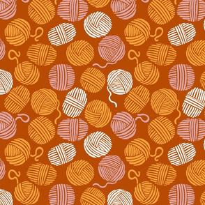 Autumn yarn saffron brown and pink