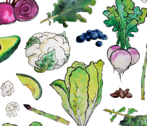Superfood Pattern (big) fabric by thekindredpines on Spoonflower - custom fabric