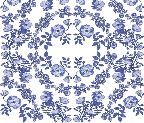 Sweet Storybook Roses in Blue China fabric by florallston on Spoonflower - custom fabric