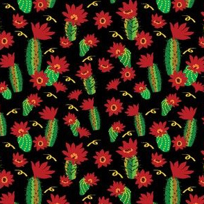 Catus Red Flowers and ribbons black