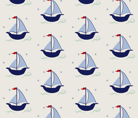Sailboats nautical blue red sailing sail boats large scale fabric by jenlats on Spoonflower - custom fabric