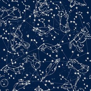 LARGE constellations fabric constellations // night time kids sky animals fox bear birds stars astronomy navy blue nursery