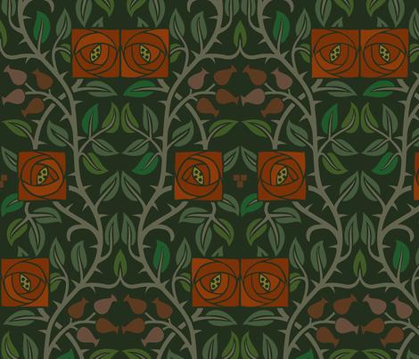 Arts & Crafts Lancaster Roses 1a Large fabric by muhlenkott on Spoonflower - custom fabric