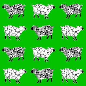 Cottonball Celtic Sheep Xmas green