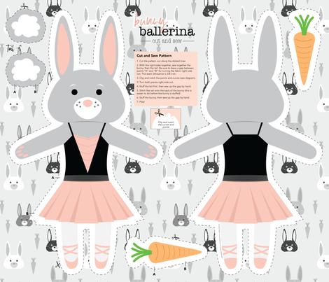 Bunny Ballerina Cut and Sew Plushy Project fabric by denisecolgan on Spoonflower - custom fabric