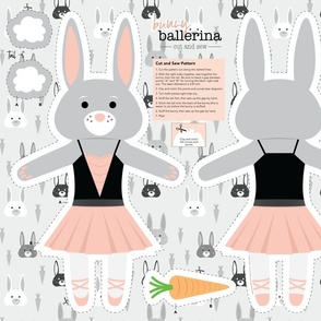 Bunny Ballerina Cut and Sew Plushy Project