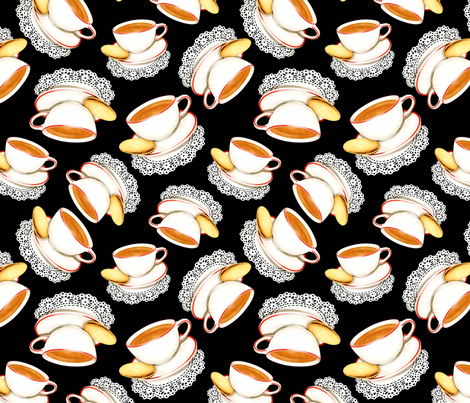 Cup of Tea and a Biscuit fabric by patriciasheadesigns on Spoonflower - custom fabric