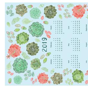 2019 calendar succulent tea towel