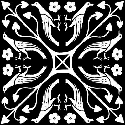 Damask Bird White on Black