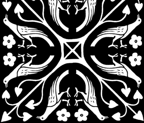Damask Bird White on Black fabric by fabric_is_my_name on Spoonflower - custom fabric