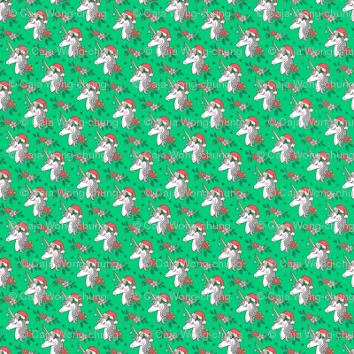 Christmas Unicorn on Green Tiny Small 1 inch