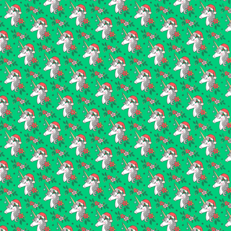 Christmas Unicorn on Green Tiny Small 1 inch fabric by caja_design on Spoonflower - custom fabric