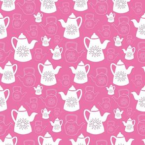 Bright pink vintage teapots