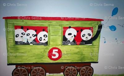 5 pandas on a train