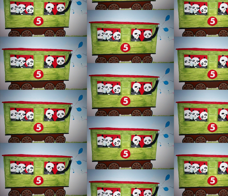 5 pandas on a train fabric by paintchick on Spoonflower - custom fabric