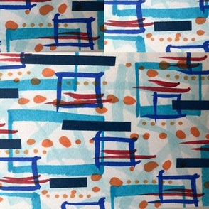 Retro blue and red 50's inspired print